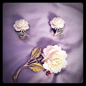 Vintage JJ rose earrings and brooch